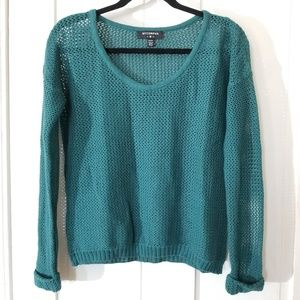 Urban Outfitters Teal Net Knitted Sweater